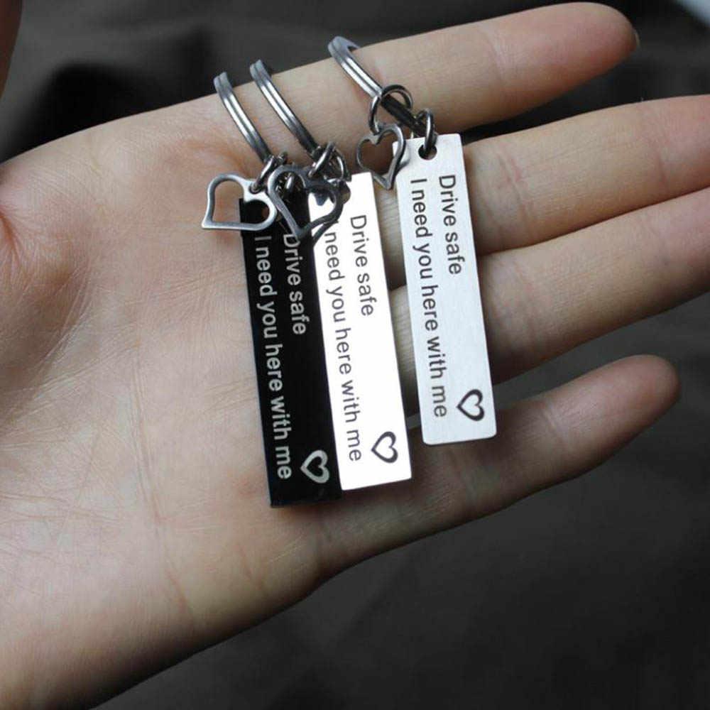 زوجين سيارة لطيف المفاتيح الرجال النساء سلاسل المفاتيح الفولاذ المقاوم للصدأ قلادة مفتاح الحب مفتاح حلقة مخصص محرك آمنة مفتاح ملحقات السلسلة