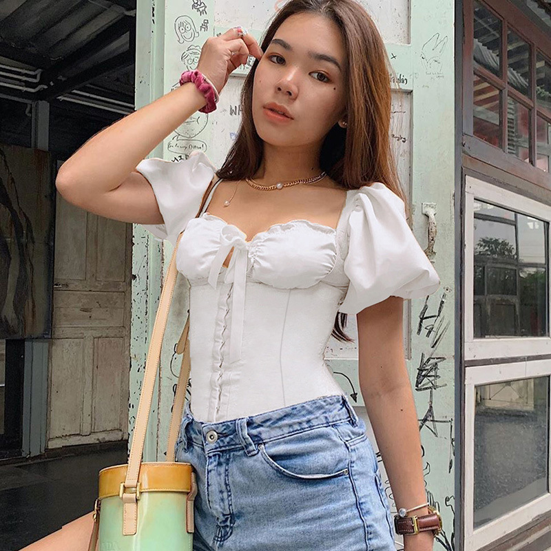 Women Vintage Blouse 2020 Short Puff Sleeve Ruffled Square Collar Front Tie Up Single Row Buckles Slim Casual Shirt Spring