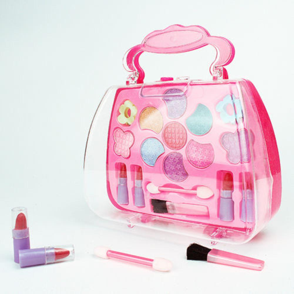 Kids Girls Makeup Set Eco-friendly Cosmetic Pretend Play Kit Princess Toy Gift Simulation Lipstick And Eye Shadow For Kids