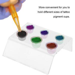 Image 2 - Soporte de 6 agujeros para tatuaje taza para tinta recipiente de pigmento soporte acrílico maquillaje permanente Microblading Pigment Cup Cap Holder