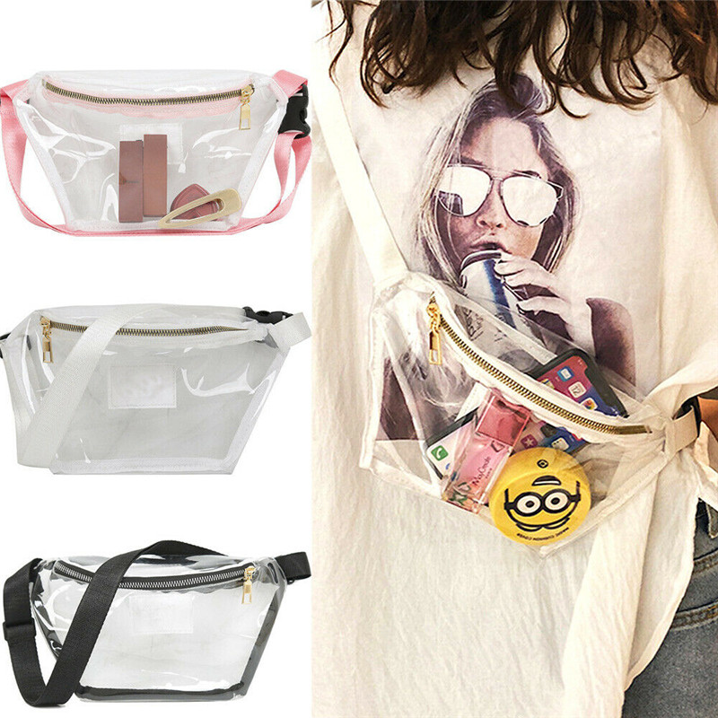 New Womens Fanny Pack PVC Clear Pouch Belt Waist Bum Bag Waist Phone Pocket