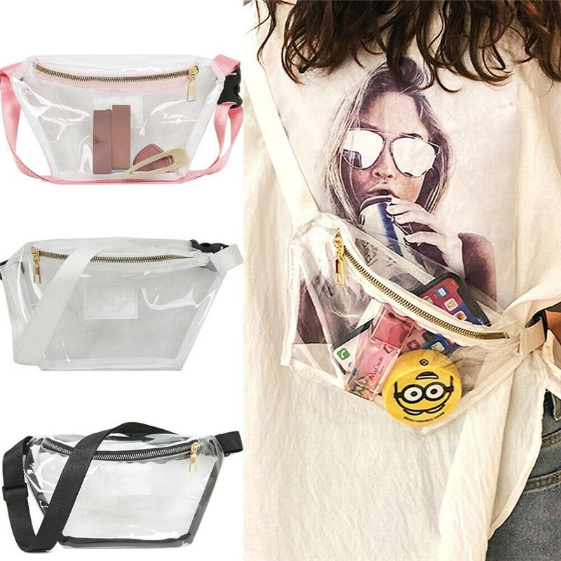 New Womens Fanny Pack PVC Clear Pouch Belt Waist Bum Bag Waist Phone Pocket