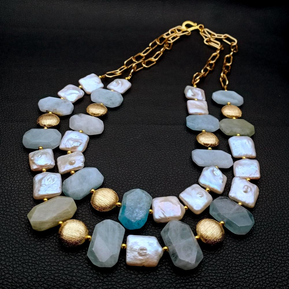 Natural Freshwater Cultured White Keshi Square Pearl blue stone faceted Nugget chain statement Necklace casual for women