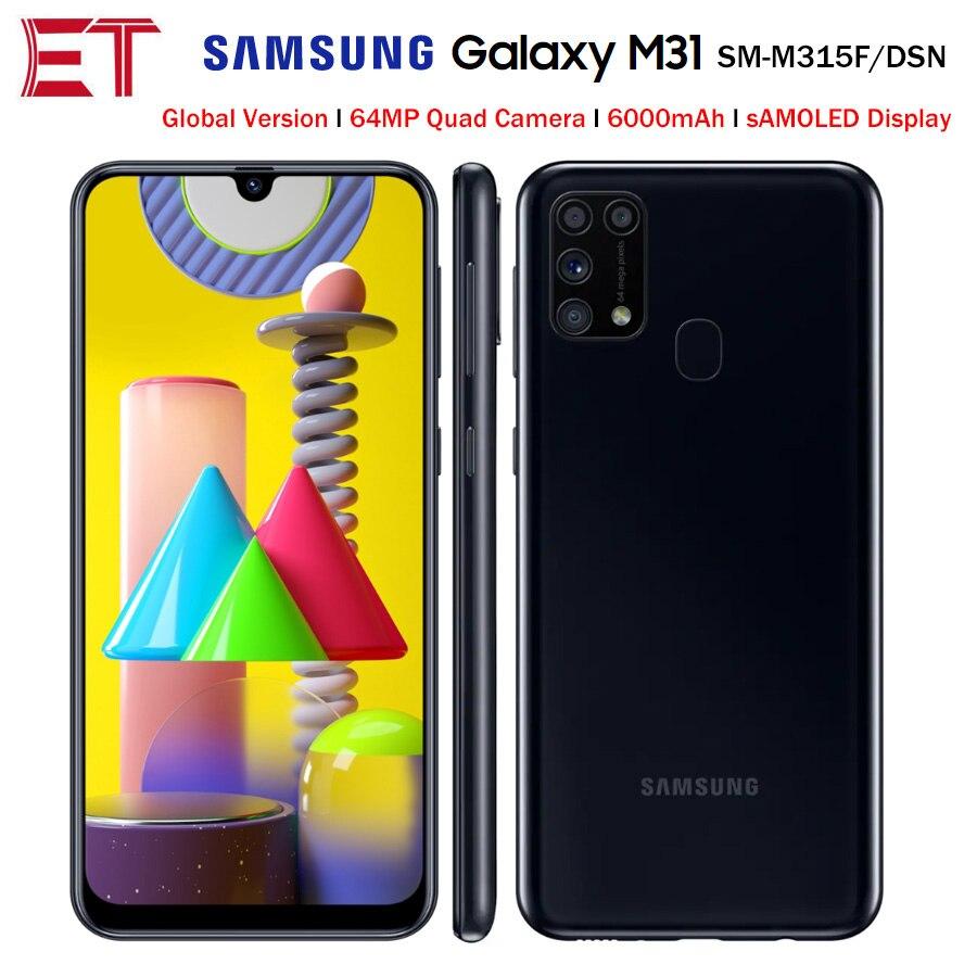 "Samsung galaxy celular m31 m315f/dsn, telefone 6gb 128gb octacore 6.4 ""1080x2340p 6000 smartphone nfc android 48mp versão global, bateria de 48mp"