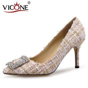 VICONE Women Crystal Elegant Tweed Rhinestone Dress Stiletto Heels V10117