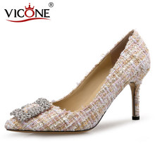 VICONE Frauen Kristall Elegante Tweed Strass Kleid Stiletto Heels V10117(China)
