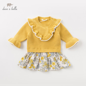 DBM11642 dave bella winter baby girl's princess ruched floral sweater dress children party dress kids infant lolita clothes image