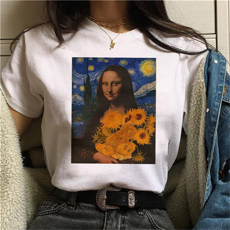 Luslos Women Harajuku Ullzang Fashion T-shirts Graphic Cute Sunflower Cartoon Tshirt Korean Style Top Tees Female Kawaii Clothes