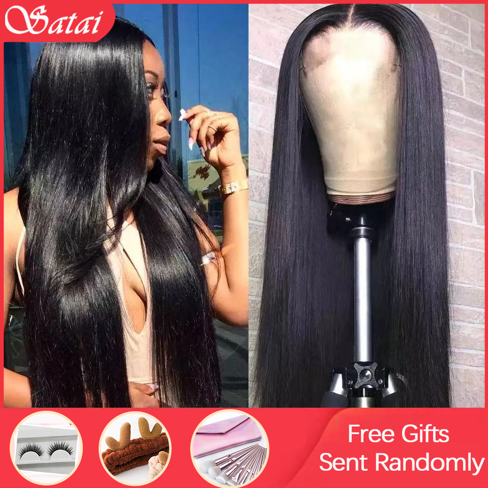 Satai Straight Lace Front Wig Braziian Wigs Glueless Human Hair Wigs Remy Hair Lace Front Human Hair Wigs For Black Women
