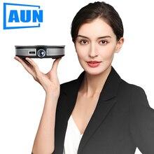 AUN מיני מקרן D8S, 1280x720P, אנדרואיד 6.0 (2G + 16G) WIFI. 12000mAH סוללה, נייד 3D beamer. תמיכת 4K עבור קולנוע ביתי