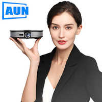 AUN MINI Projector D8S, 1280x720P, Android 6.0 (2G+16G) WIFI. 12000mAH Battery, Portable 3D beamer. Support 4K for home cinema