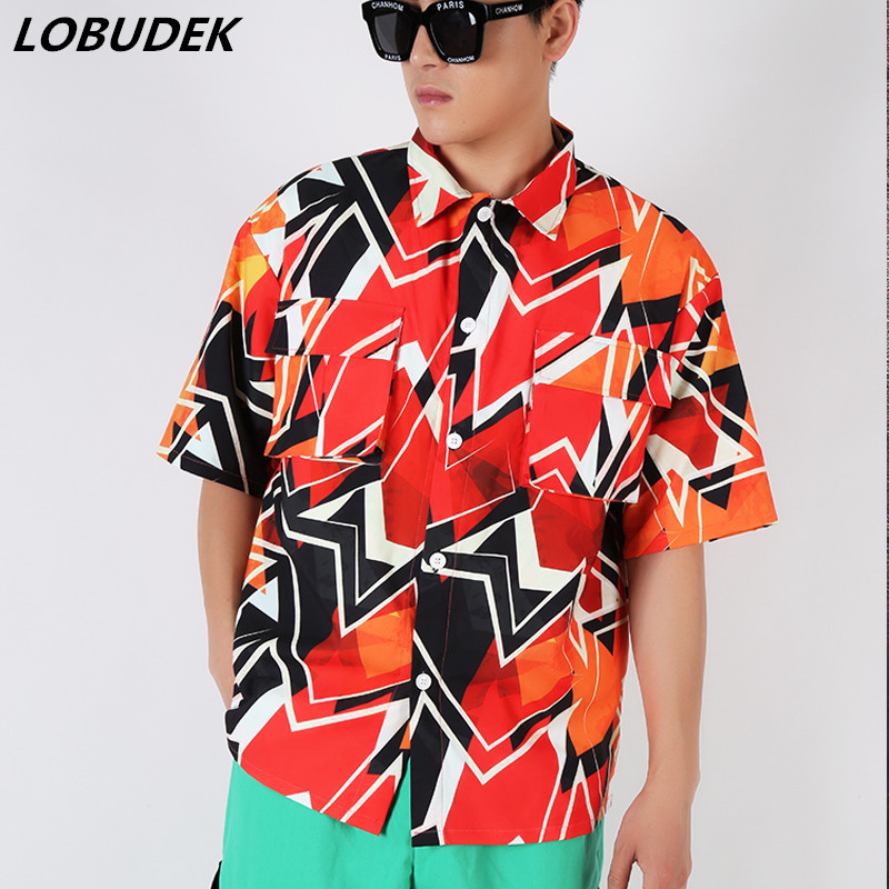 (Shirts+Shorts) Orange Geometric Pattern Hip Hop Set Summer Casual 2 Pieces Sets DJ Rock Singer Dancer Nightclub Bar Costume