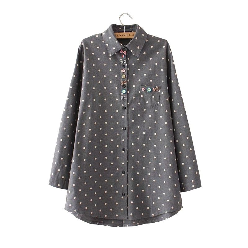 Drop Shipping Chemise Femme Ropa Mujer Women Cotton Blouse Polka Dot Flared Blusas Plus Size Women Clothing Ladies Tops