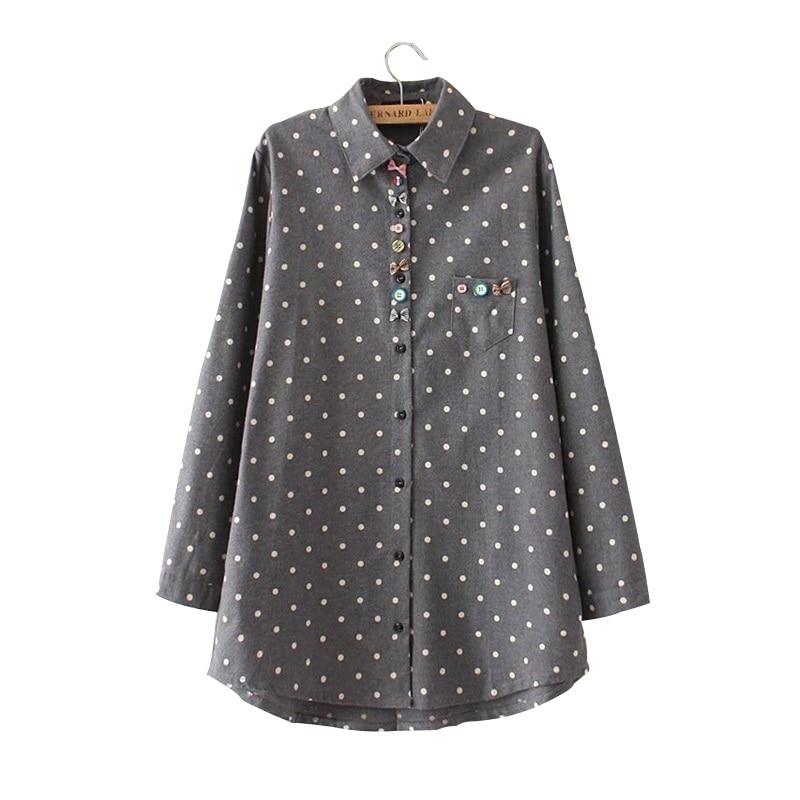 Drop Shipping chemise mujer ropa mujer Blusa de algodón Polka Dot Flared Blusas de talla grande ropa de mujer