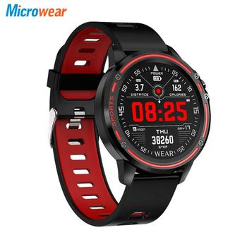 Microwear L8 Full Touch Screen ECG+PPG O2 Monitor IP68 Sports Mode bluetooth Music Control Weather Smart Watch Fitness Men Women 1