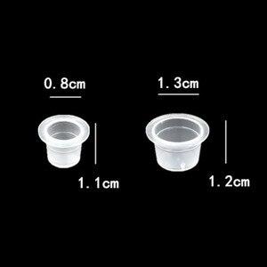 Image 3 - 100 adet S/M kalıcı makyaj Pigment temizle tutucu konteyner kapaklı plastik tek kullanımlık Microblading dövme mürekkep bardaklar dövme aksesuar