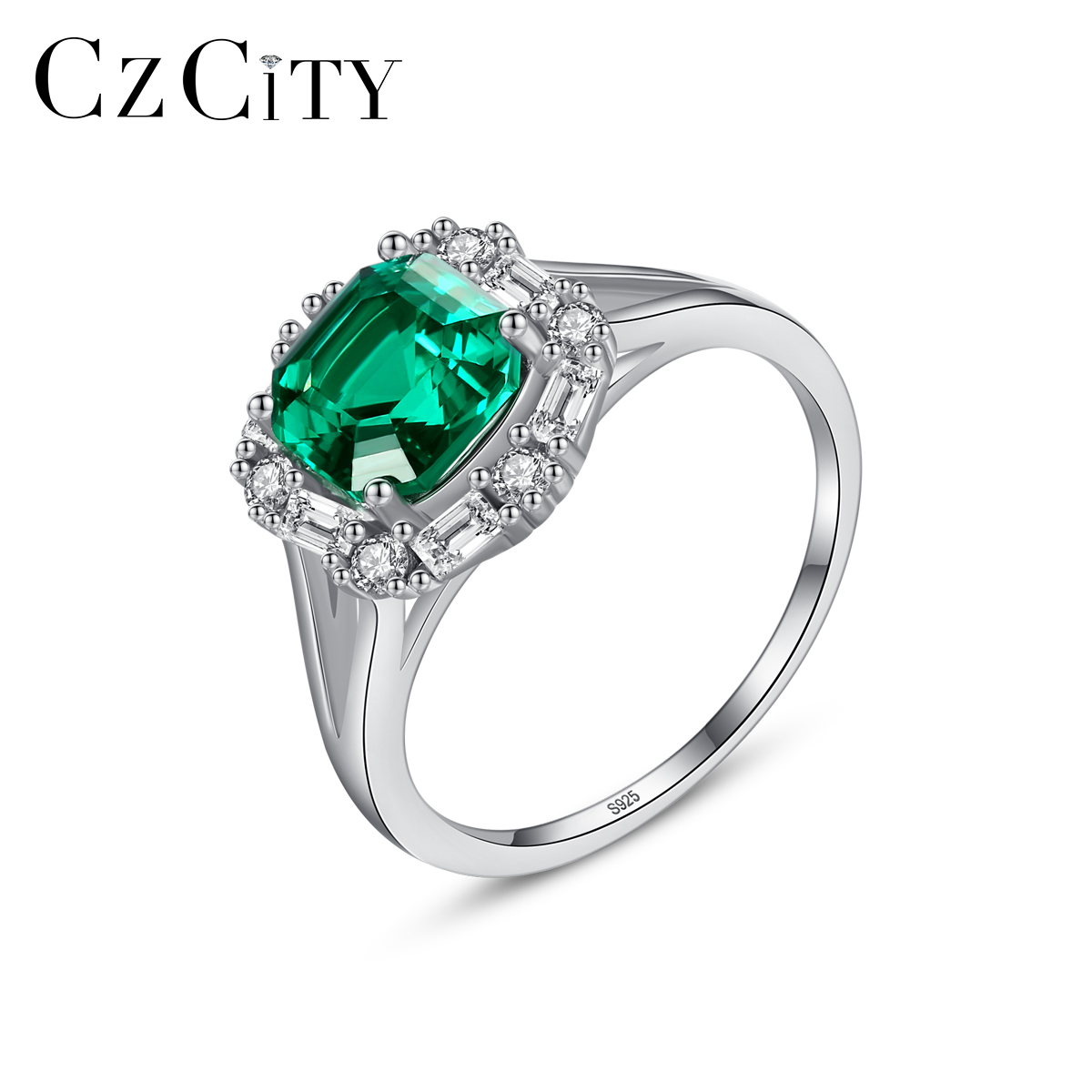 CZCITY High Quality Green Gemstone Engagement Rings for Women Wedding Party 925 Sterling Silver Finger Ring Fine Jewelry SR0323