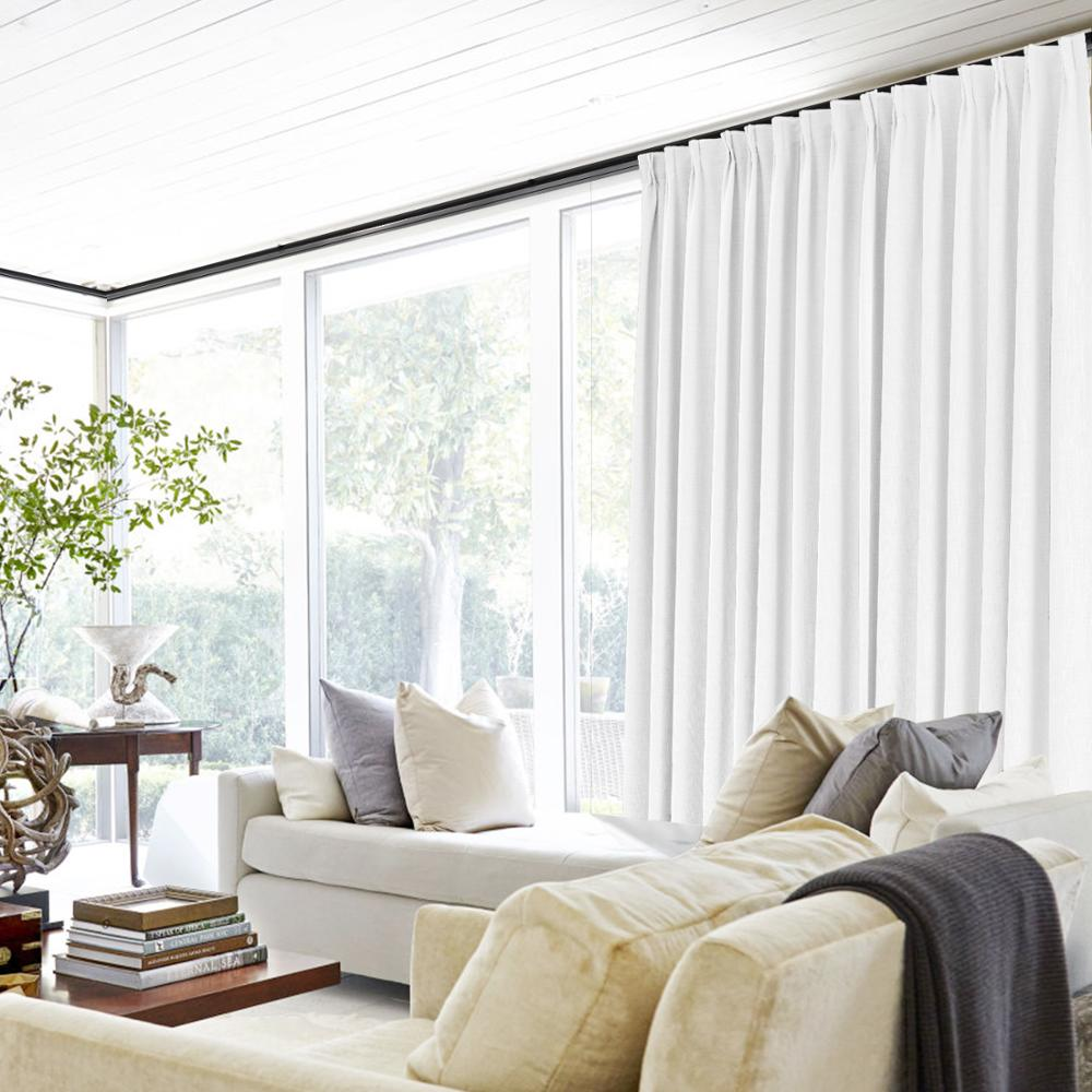 Liz Pinch Pleat Solid Polyester Linen Window Blackout Curtains For The Bedroom, 38 Colors (1 Panel), ChadMade European Curtains
