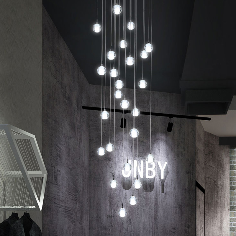 Modern Crystal Chandelier Lighting Hotel Large Staircase Hanging Lights LED Cristal Lamps For Home Hotel Decoration