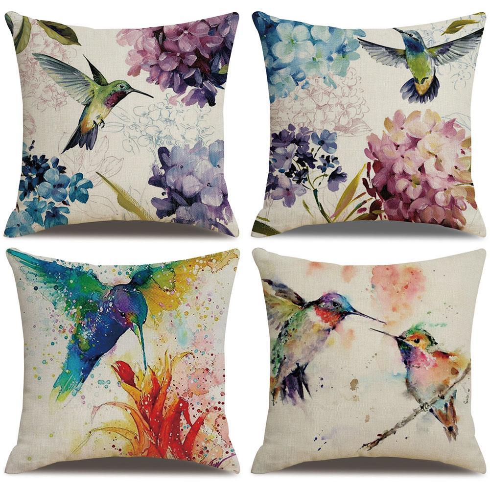 1PC 45x45cm Hummingbirds Flower Pattern Pillow Case Cushion Cover Home Sofa Decor