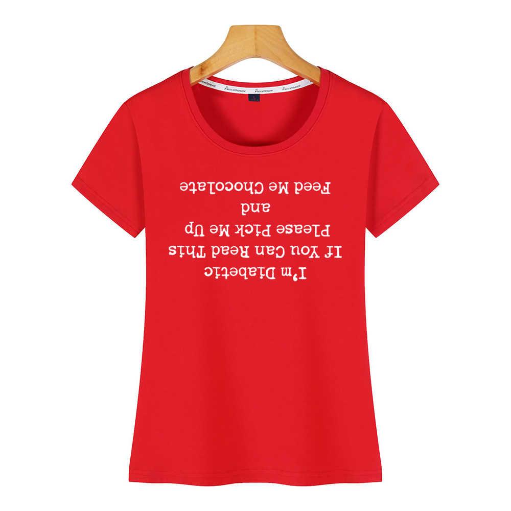 トップス tシャツ女性糖尿病場合ジョーク読むことができこのミー夏原宿綿の女性の tシャツ