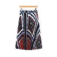 Stain Silk Skirts Women 2019 Summer Chic Chain Print Pleated Skirts High Waist Bohemian Midi Skirt Ladies Boho Jupe Saias faldas