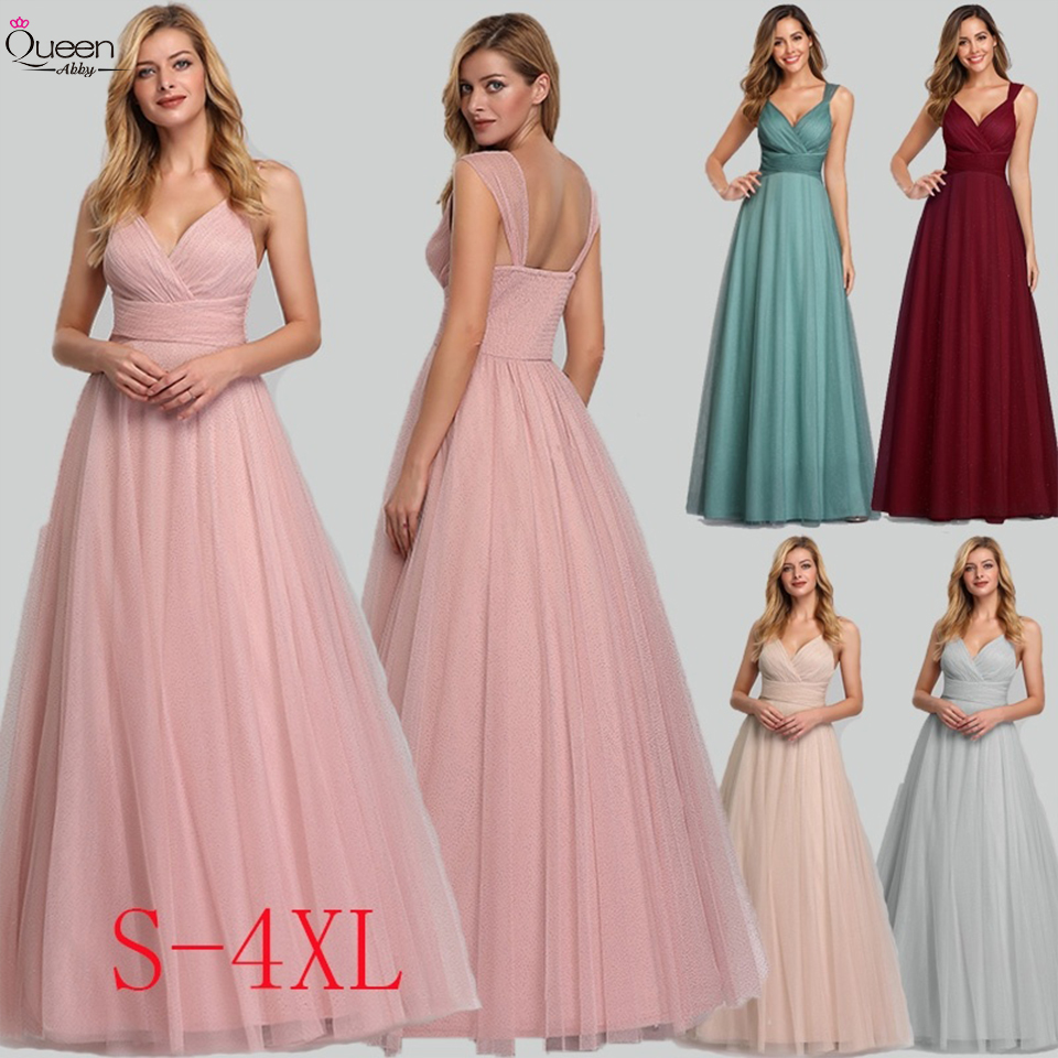 Elegant Bridesmaid Dress A-line Pleated Sleeveless Backless V-neck Floor-length Dress Backless Dress For Party