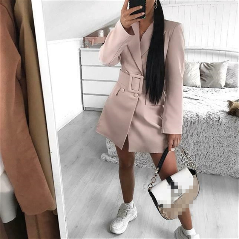 New Autumn Women OL Lapel Blazer Winter Double Breasted Long Sleeve Work Formal Long Blazer Woman Female Suit Outer Coat 2019