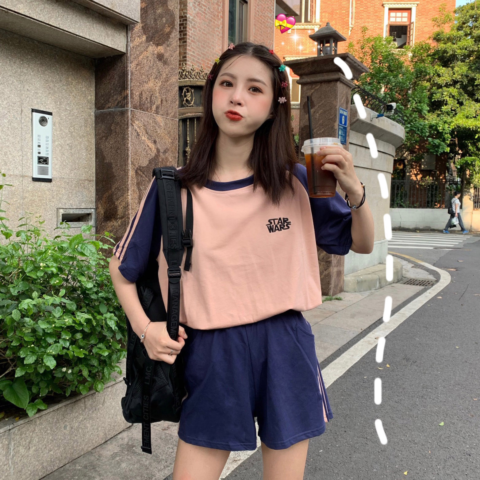 Loose-Fit Bars Article Lettered Small Embroidered College Shorts Short Sleeve Sports Set 3-Color