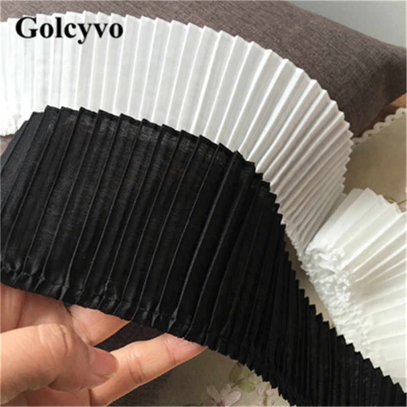 1Meter Black White Polyester Cotton Accordion Pleated Trims Ribbon Colthing Skirt DIY Sewing Crafts 7cm Width