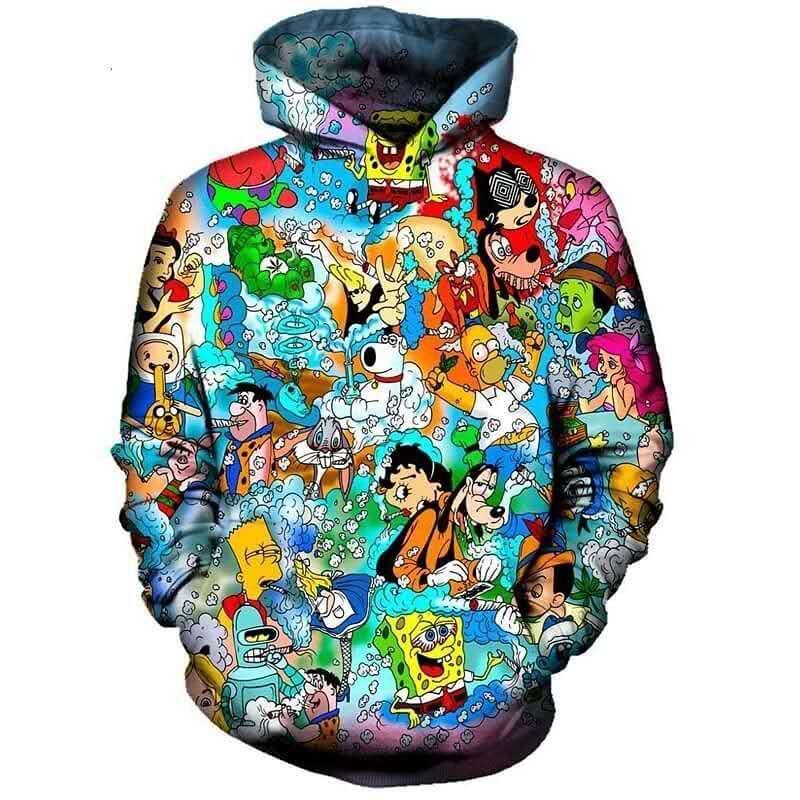 PLstar Cosmos Fashion Men Hoodies 90s Cartoon Gang Character Collage 3D Printed Hoodie Unisex Streetwear Hooded Sweatshirt