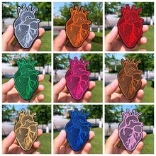 Prajna Colorful Heart 9 Colors Embroidered Patches For Clothing Badges Iron On Patches For Clothes T-shirt DIY Cloth Applique with rhinestones star skeleton iron on patches stripes for clothes diy embroidered patch applique badges clothing t shirt crafts