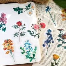 Jianwu 40 pçs plantas flores série washi adesivo pacote diário diy decoração adesivos scrapbook papelaria diário adesivos