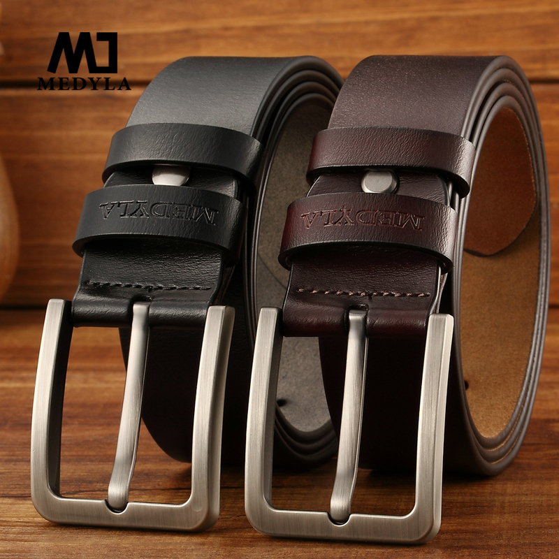Mens Jeans Casual Belts Cowhide Genuine Leather Vintage Retro Pin Buckle Style
