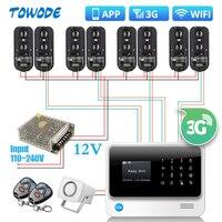 Towode sistema de alarme de segurança residencial  g90b 3g gsm wifi 100 metros com fio infravermelho ir  barreira de feixe duplo