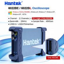 Hantek osciloscópio usb 2 ch 20mhz 48msa/s, osciloscópio digital de pc 6022be + 16 canais analisador de lógica 50/80/100/200 mhz