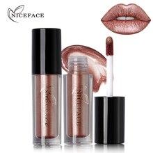 NICEFACE 12 Color Ultra Metal Liquid Lipstick Bronze Rose Gold Shimmer Metallic Lip Gloss Makeup Waterproof