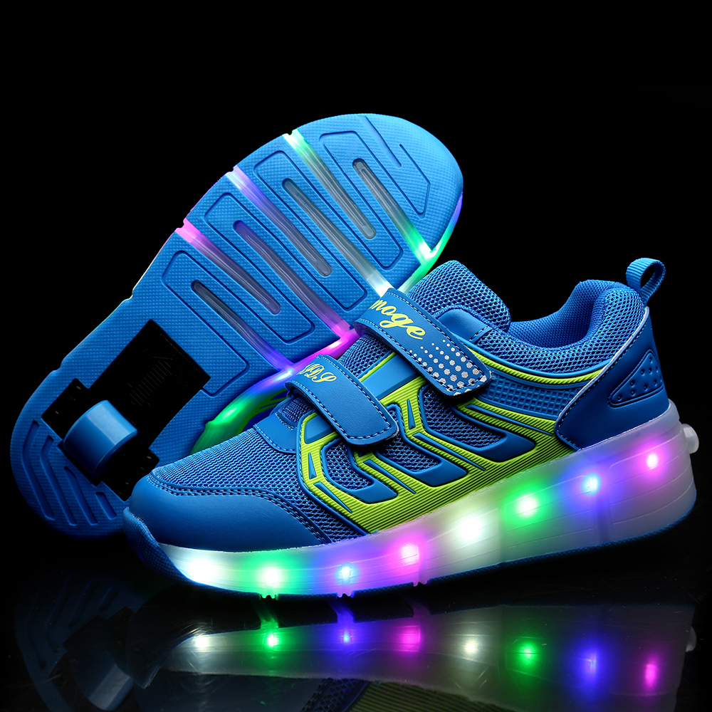 New Children Roller Skate Shoes Pink Boys Girls 2020 LED Light Sneakers With Wheel Boy Girl Casual Shoe Zapatillas Ruedas