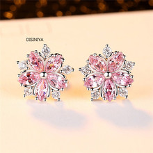 Lovely crystal Girl Pink Chevrolet Earrings Fashion 925 silver plated wedding jewelry Bohemia small Cherry Earrings 925 silver plated crystal earrings pair