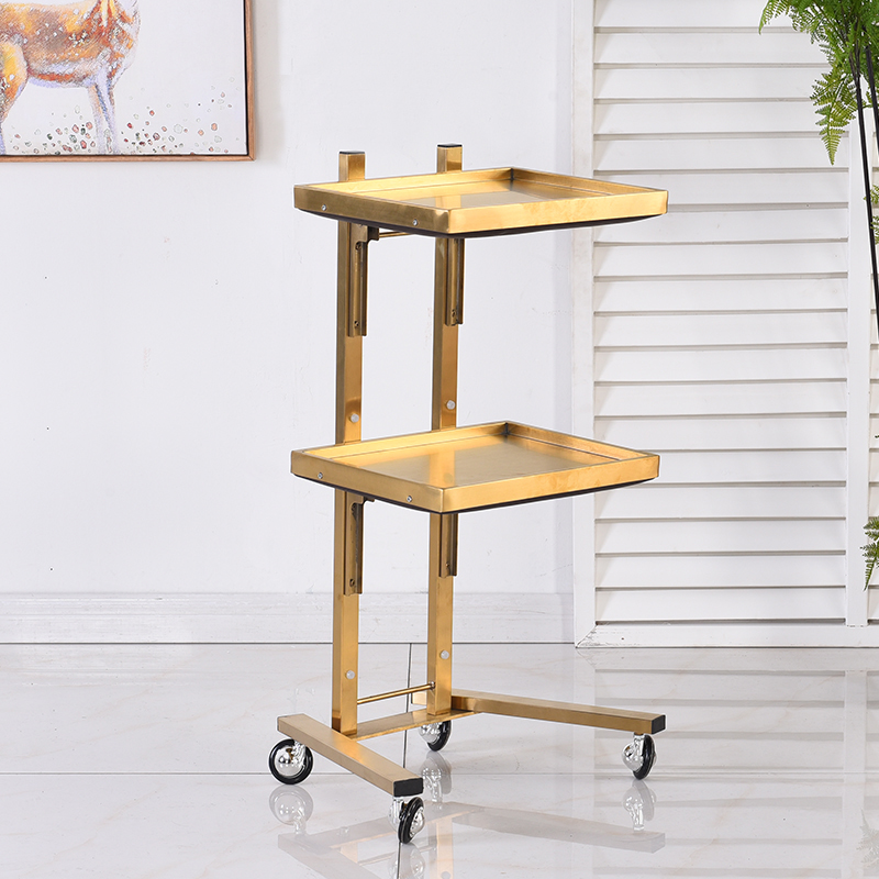 New Product Hairdressing Stainless Steel Cart Japan Hair Salon Tool Cart Folding Two Table Trolley