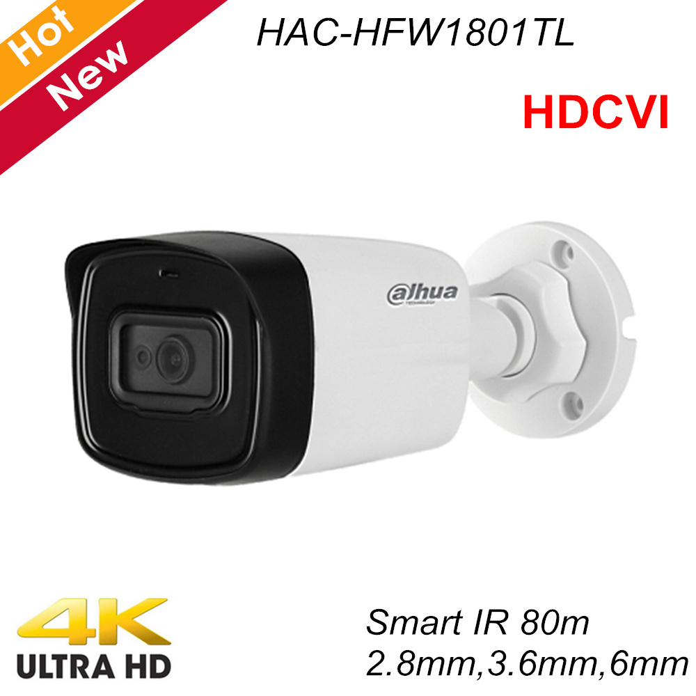 Dahua Lite Plus Series 4K HDCVI Camera IR Bullet Camera Max IR Length 80m IP67 Security Camera HAC-HFW1801TL
