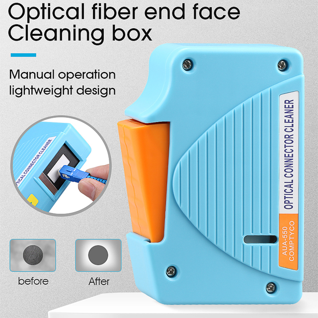 AUA 550 Optical Fiber Connector Cleaner/Fiber Conector Cleaning Cassette, 500 times Cassette Cleaner Fiber Optic Cleaning Box