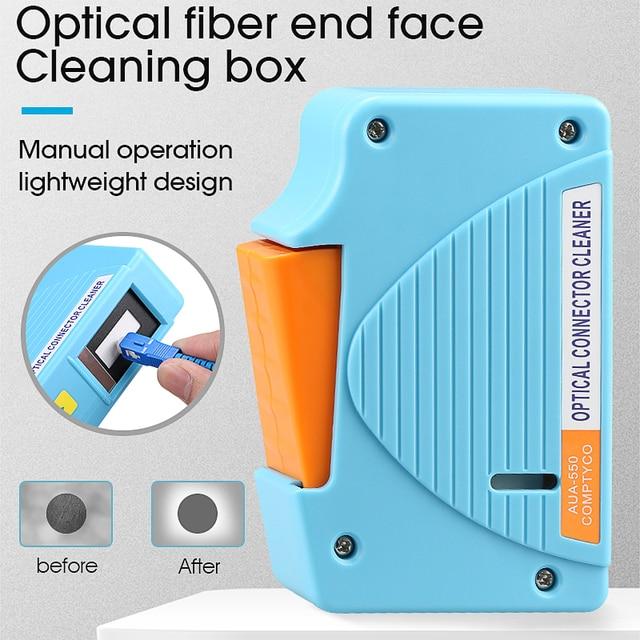 AUA 550 limpiador de conectores de fibra óptica/Conector de fibra Cassette de limpieza, 500 veces limpiador de Cassette caja de limpieza de fibra óptica