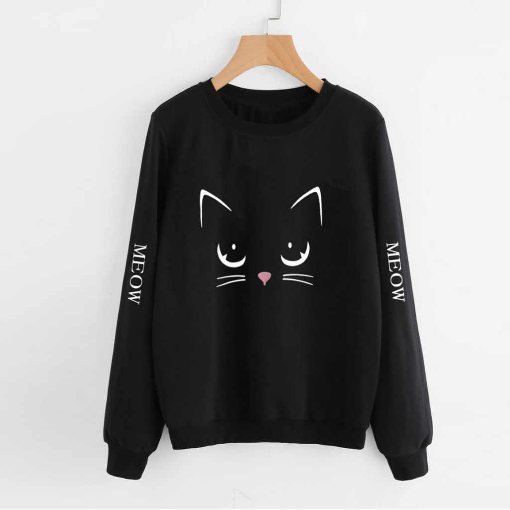סווטשירט נשים אימונית סתיו אביב סוודרי חתול הדפסה ארוך שרוול סווטשירט מקרית רחב מימדים למעלה חולצה sudadera mujer