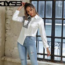 JYSS treny leopard blouses women imitation satin camisas mujer pocket decoration roupa feminina womens tops and 50086