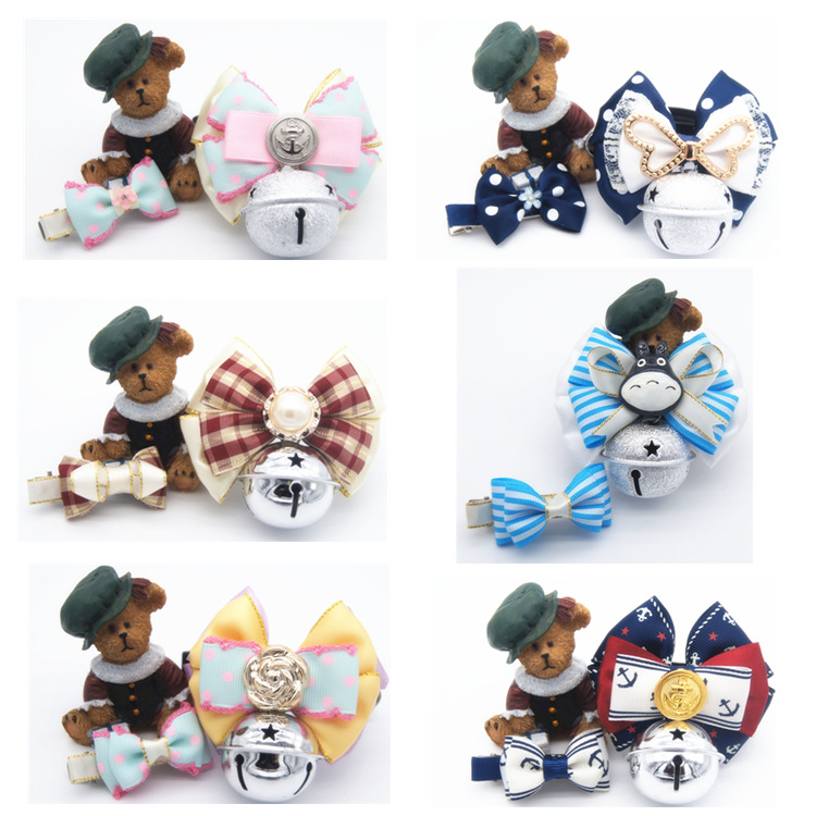New Style Origional Dog Traction Pet Collar Bow Bell Set Send Headband