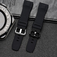 Cinturino di ricambio per Casio PRG-650 PRG-650Y 24mm SmartWatch Silicone durevole cinturino impermeabile fibbia argento nero