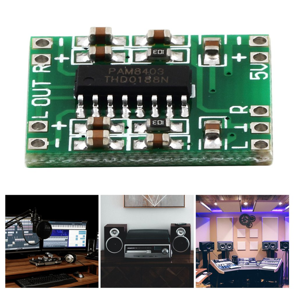 Green PAM8403 Super Mini Digital Amplifier Board 2 * 3W Class D Digital 2.5V To 5V Power Amplifier Board Efficient Hot New