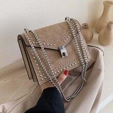 Маленькие кожаные сумки-мессенджеры на плечо для женщин, сумка через плечо с цепочкой и заклепками, женские мини-сумки для путешествий