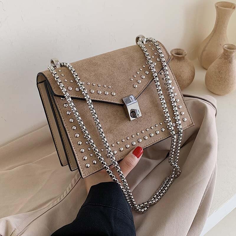 Matagal Couro Pequeno bolsa de Ombro Messenger Bags Para As Mulheres 2019 Cadeia de Rebite bolsa de Bloqueio Saco de Viagem Feminino Mini Sacos Crossbody